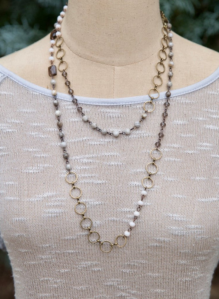Bronze and Quartz Long Beaded Chain Necklace