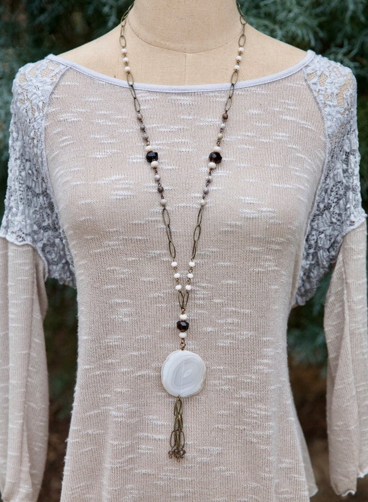 Large Stone Medallion Long Necklace