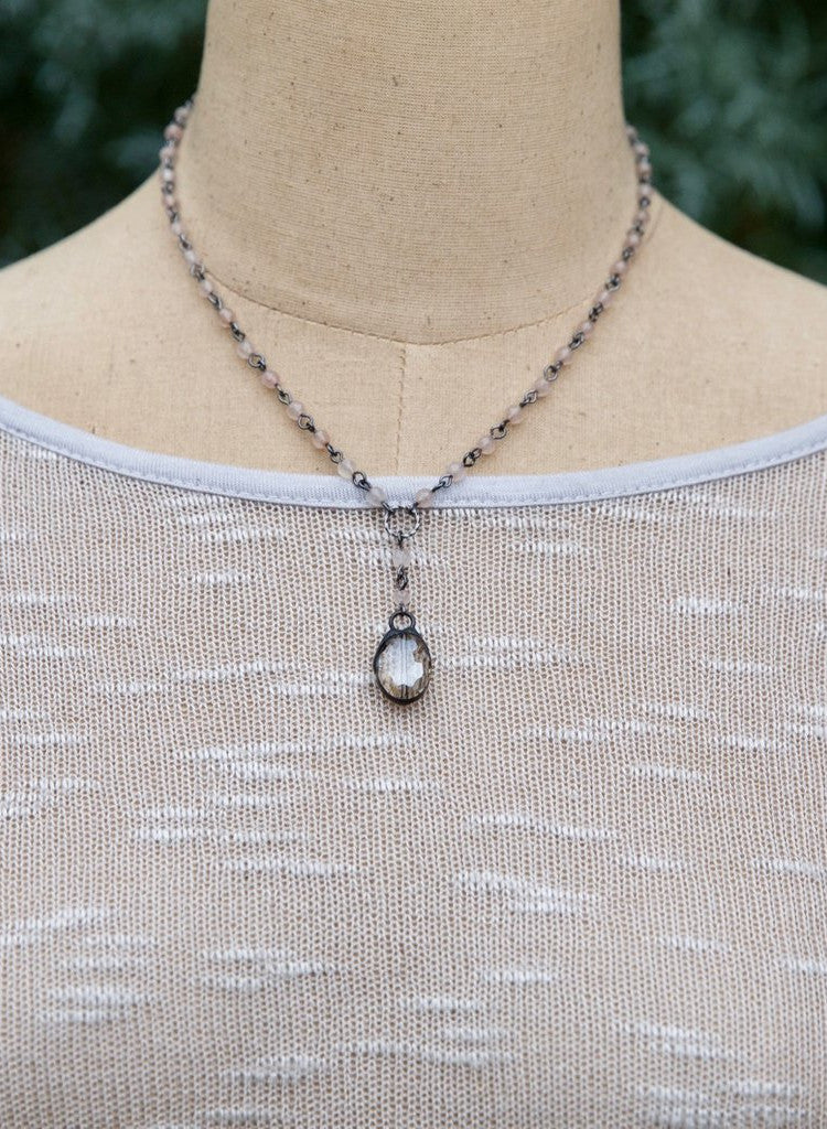 Medium Beaded Chain with Drop Crystal Necklace