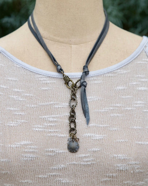 Grey Leather Convertible Necklace