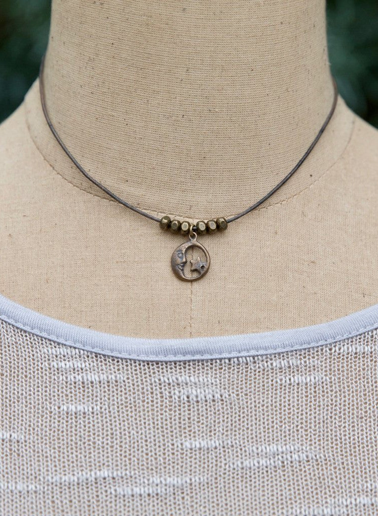 Brown Leather Cord Necklace with Cross or Moon Charm