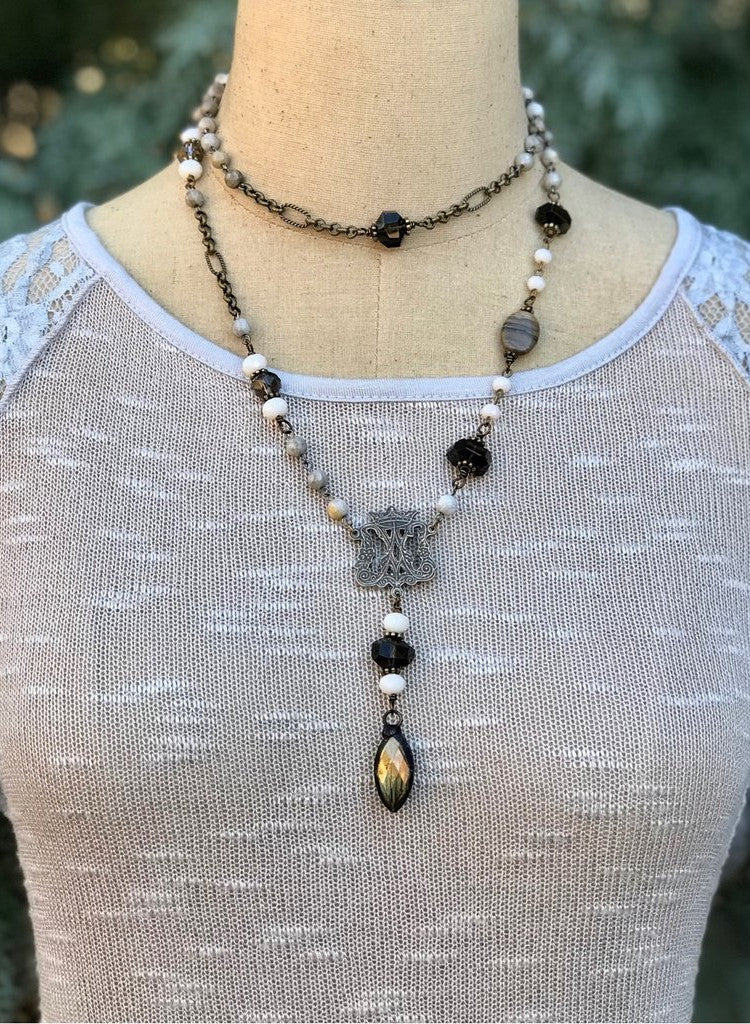 Handcrafted Long Necklace with Crown Pendant