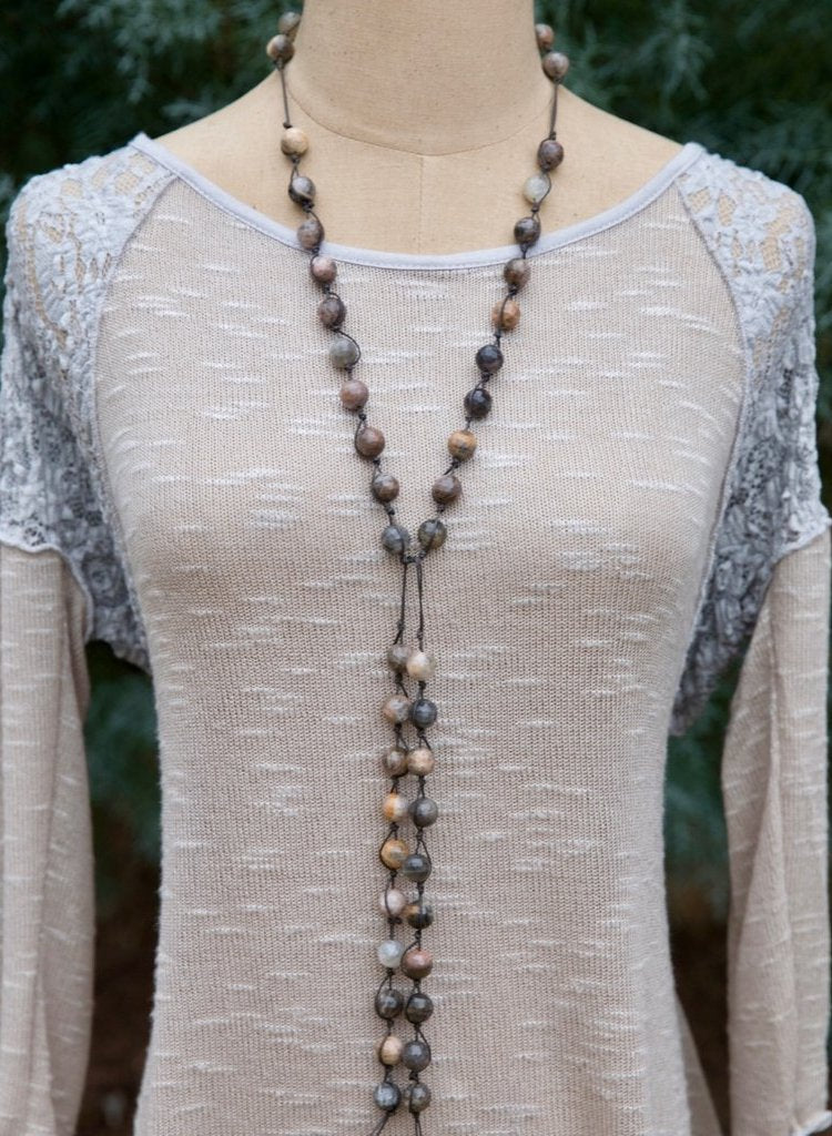 Grey Bead Prayer Necklace