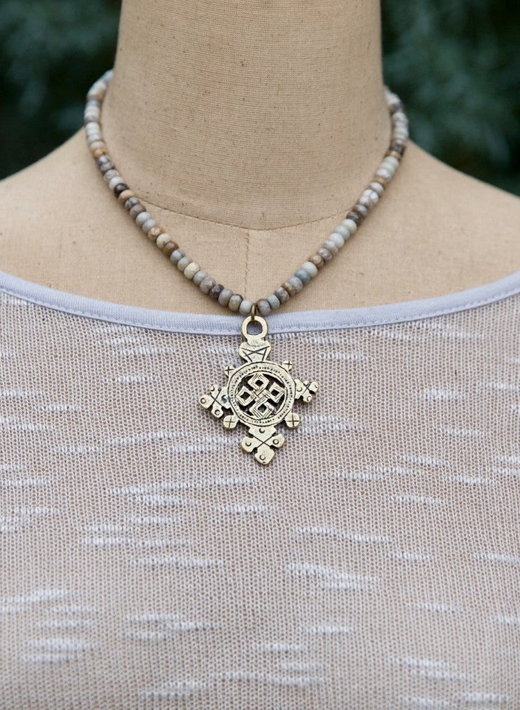 Handcrafted Beaded Necklace with Cross Pendant