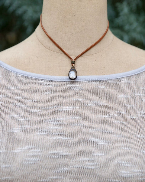 Short Leather Necklace with Soldered Crystal