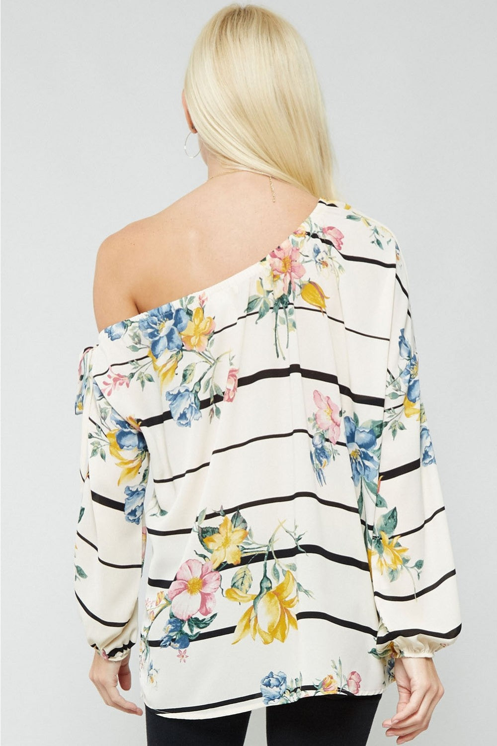 One Shoulder Top in Floral Stripe Print