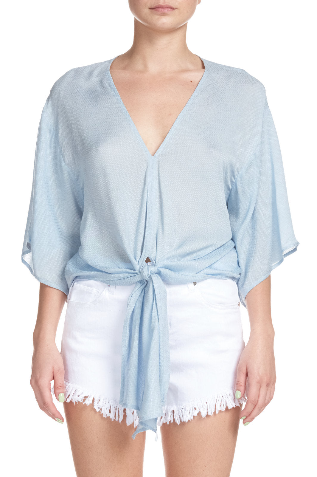 Top with 3/4 Sleeves and Tie Front