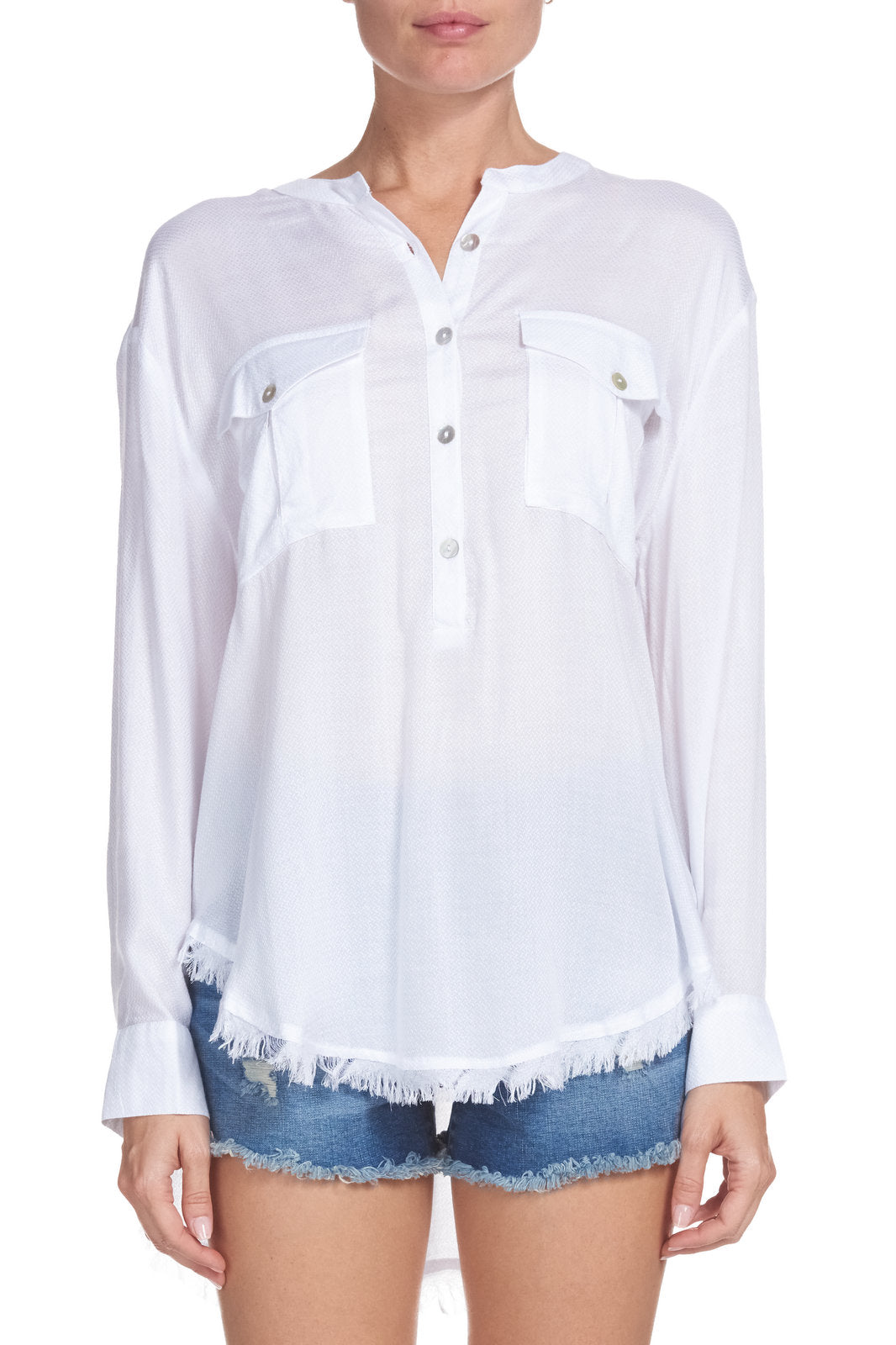 Long Sleeve Top with Frayed Hem