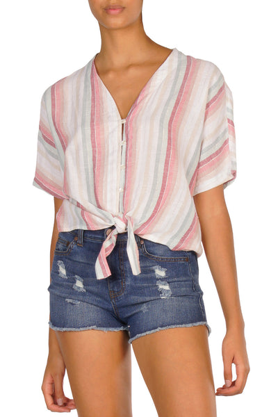 Multi-Stripe Button Down Short Sleeve Top