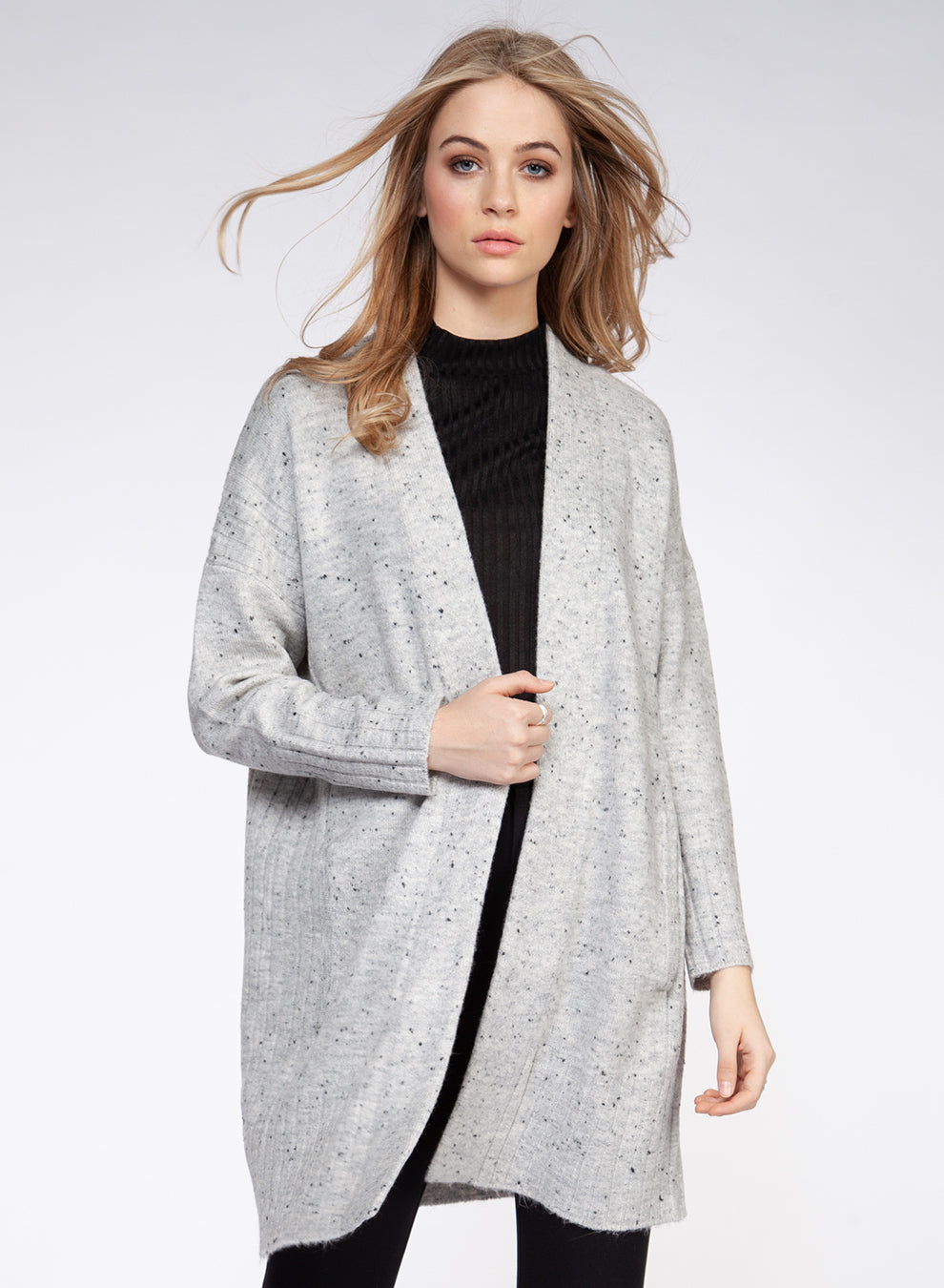 Speckled Grey Open Front Cardigan Sweater