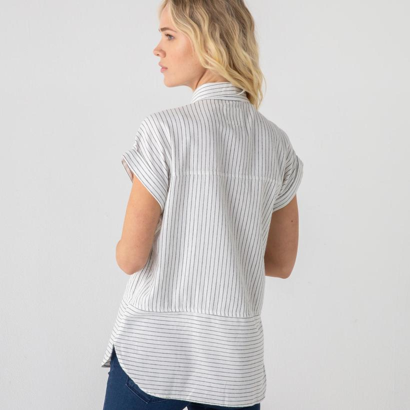 Pinstripe Short Sleeve Button Down Shirt