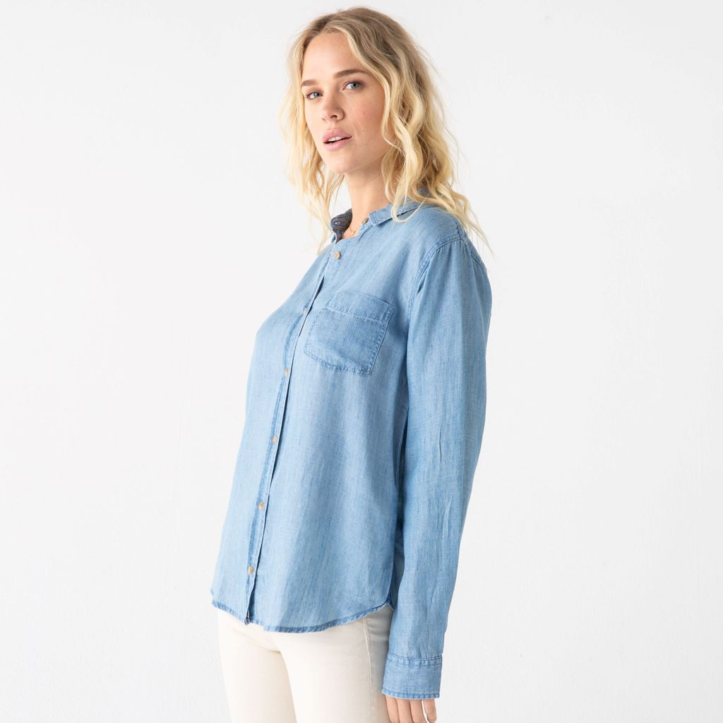 Lightweight Chambray Button Down Top
