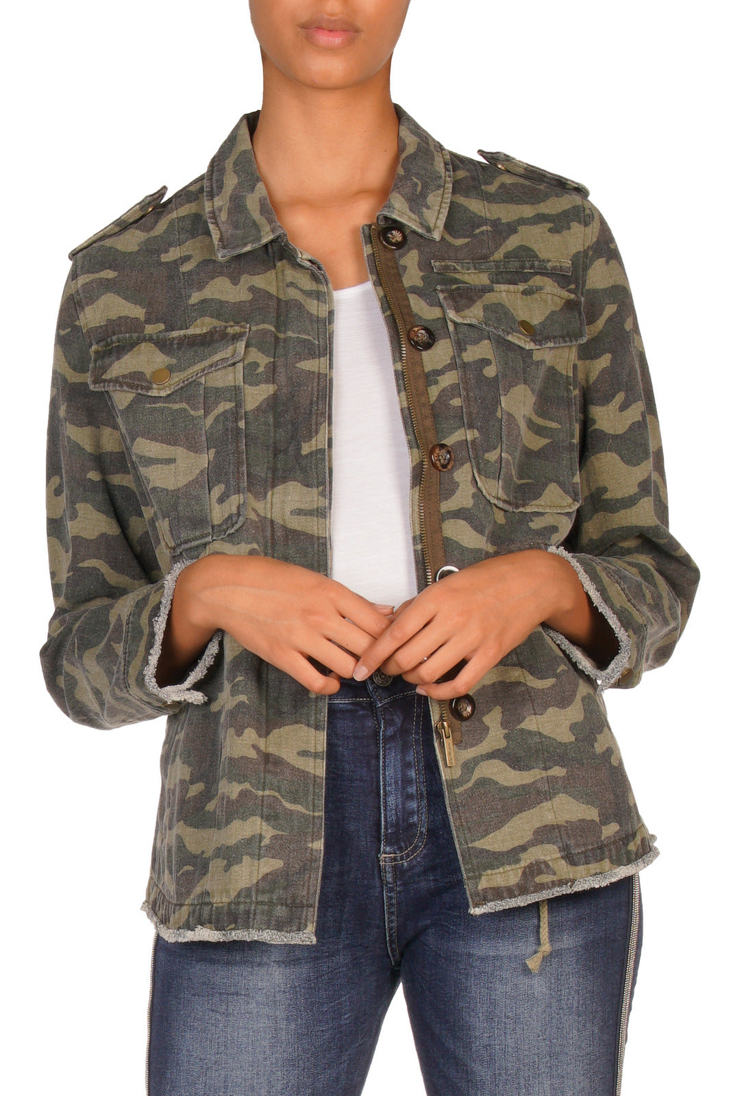 Olive Green Camouflage Distressed Jacket