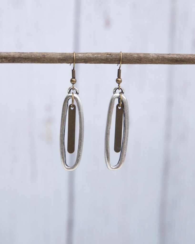 Skinny Silver Oval Earrings