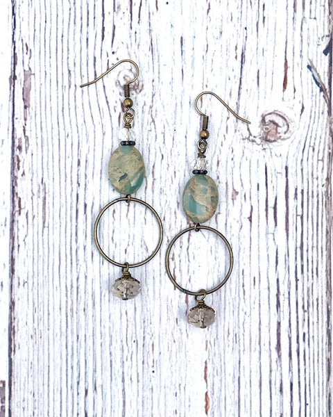 African Opal Long Earrings