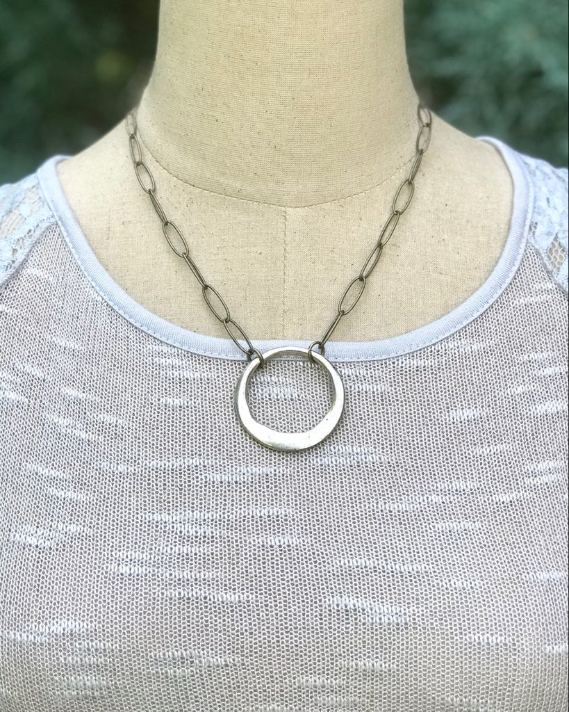 Large Link Chain Necklace with Circle