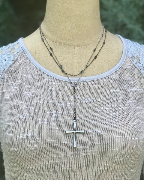 Antique Silver Large Cross Necklace