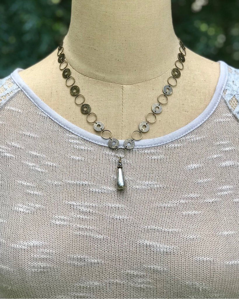 Brass Circle Chain Necklace with Mercury Teardrop