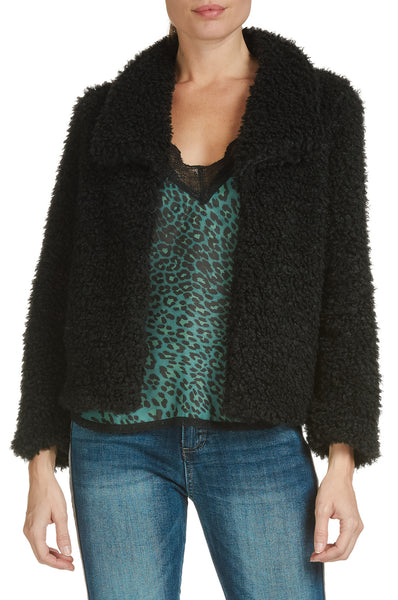 Shaggy Jacket with Front Snap