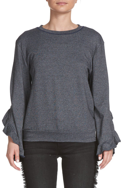 Ruffled Long Sleeve Charcoal Grey Sweatshirt