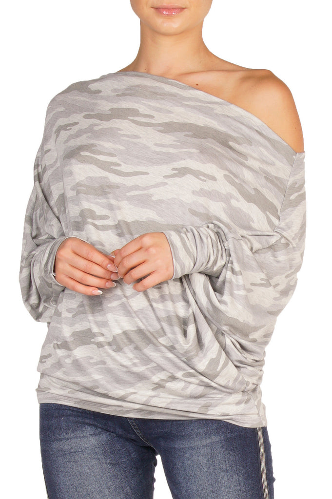 Black Grey Camouflage Off the Shoulder Top with Long Dohlman Sleeves
