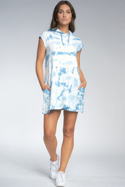 Blue Tie Dye Hoodie Dress
