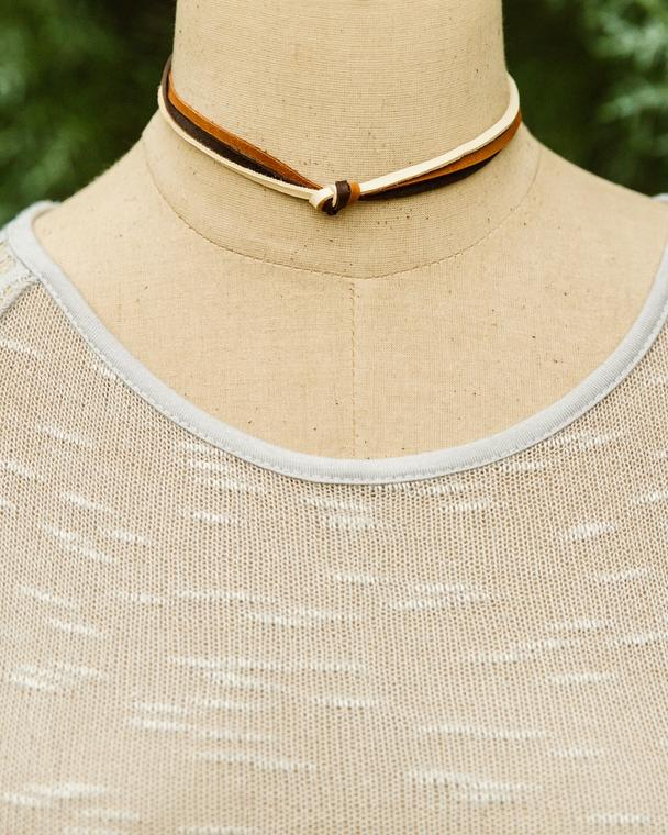Leather Knotted Tie Choker