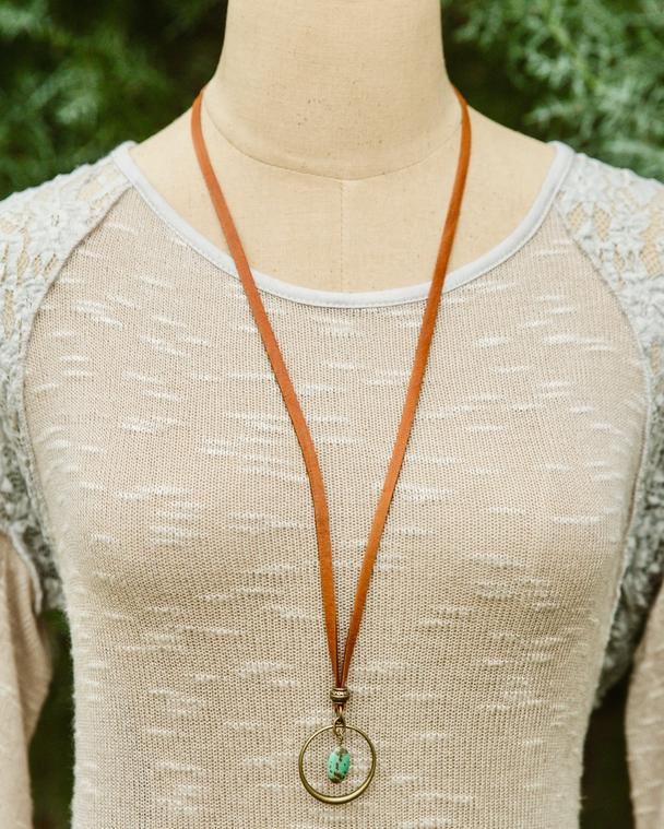 Tan Leather Adjustable Necklace