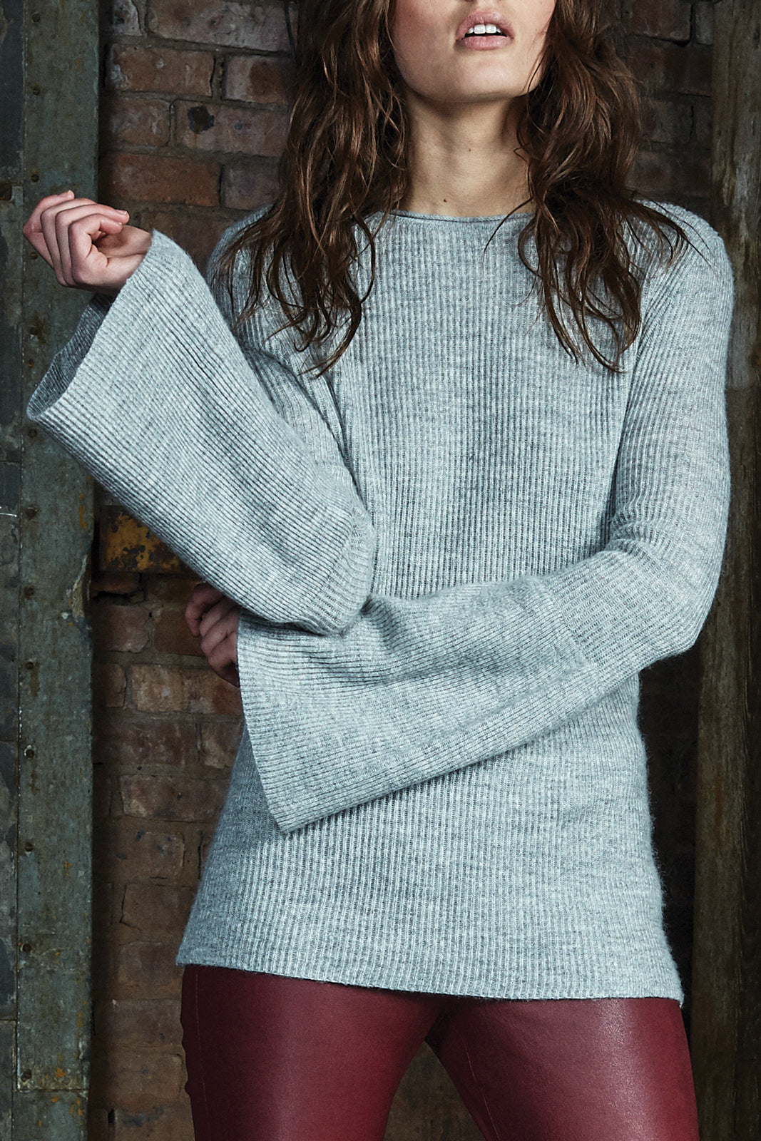Cashmere Blend Bell Sleeve Sweater