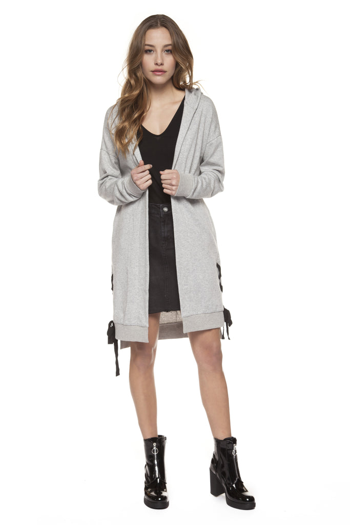 Light Grey Mix Hooded Cardigan Sweatshirt