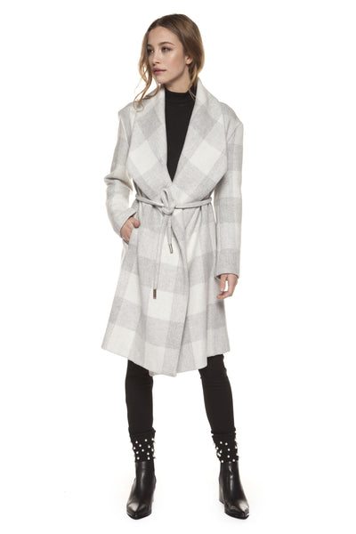 Grey and Ivory Block Plaid Coat