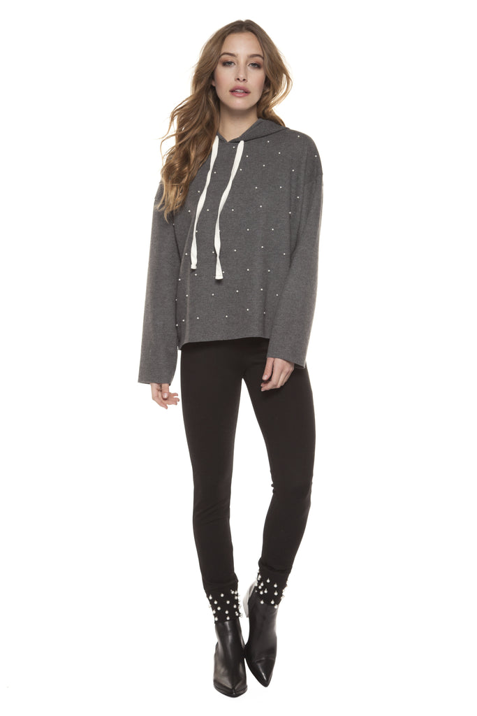 Grey Long Sleeve Hooded Sweater with Faux Pearls