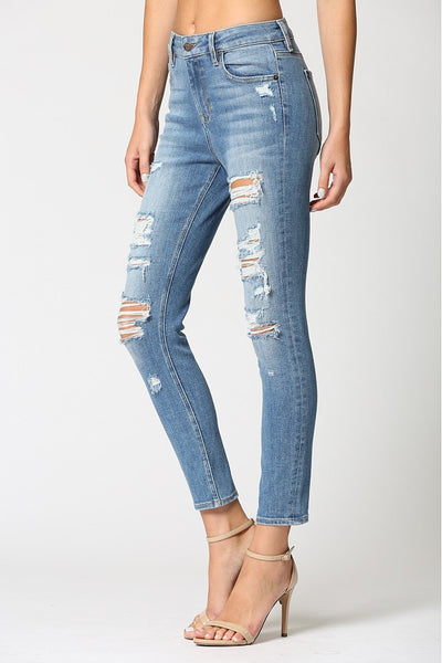 High Rise Heavy Distressed Skinny Jeans