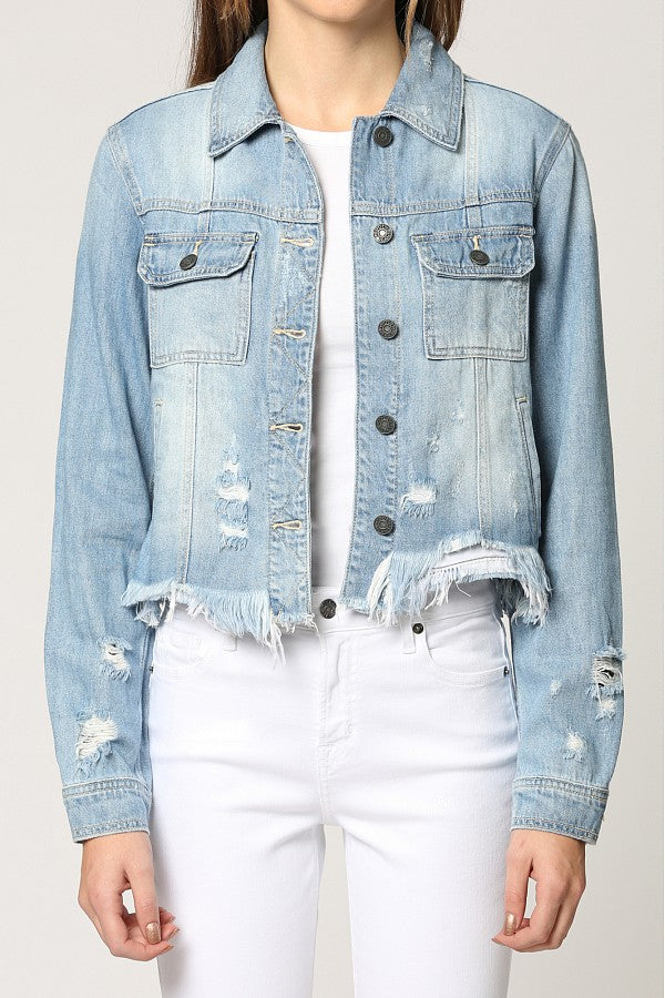 Cropped Lightweight Distressed Fitted Denim Jacket with Uneven Hem