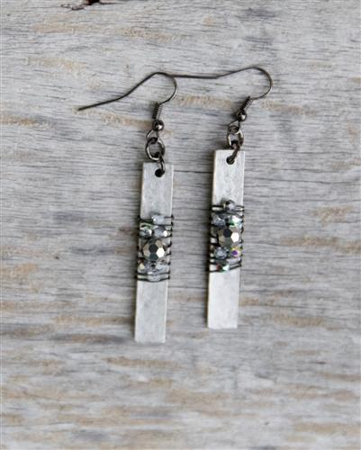 Hammered Bar Wrap Earrings