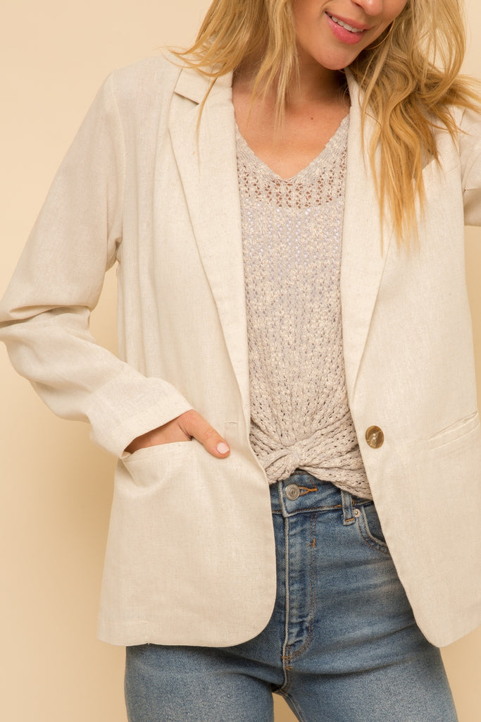 Linen Blazer in Natural Tan