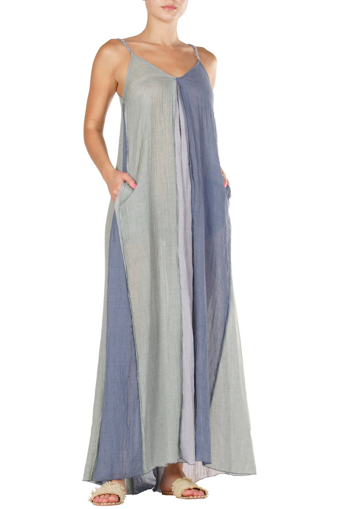 Maxi Dress in Green/Grey/Blue