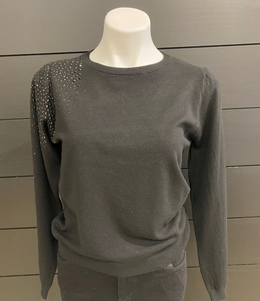 Black Long Sleeve Sweater with Black Studs