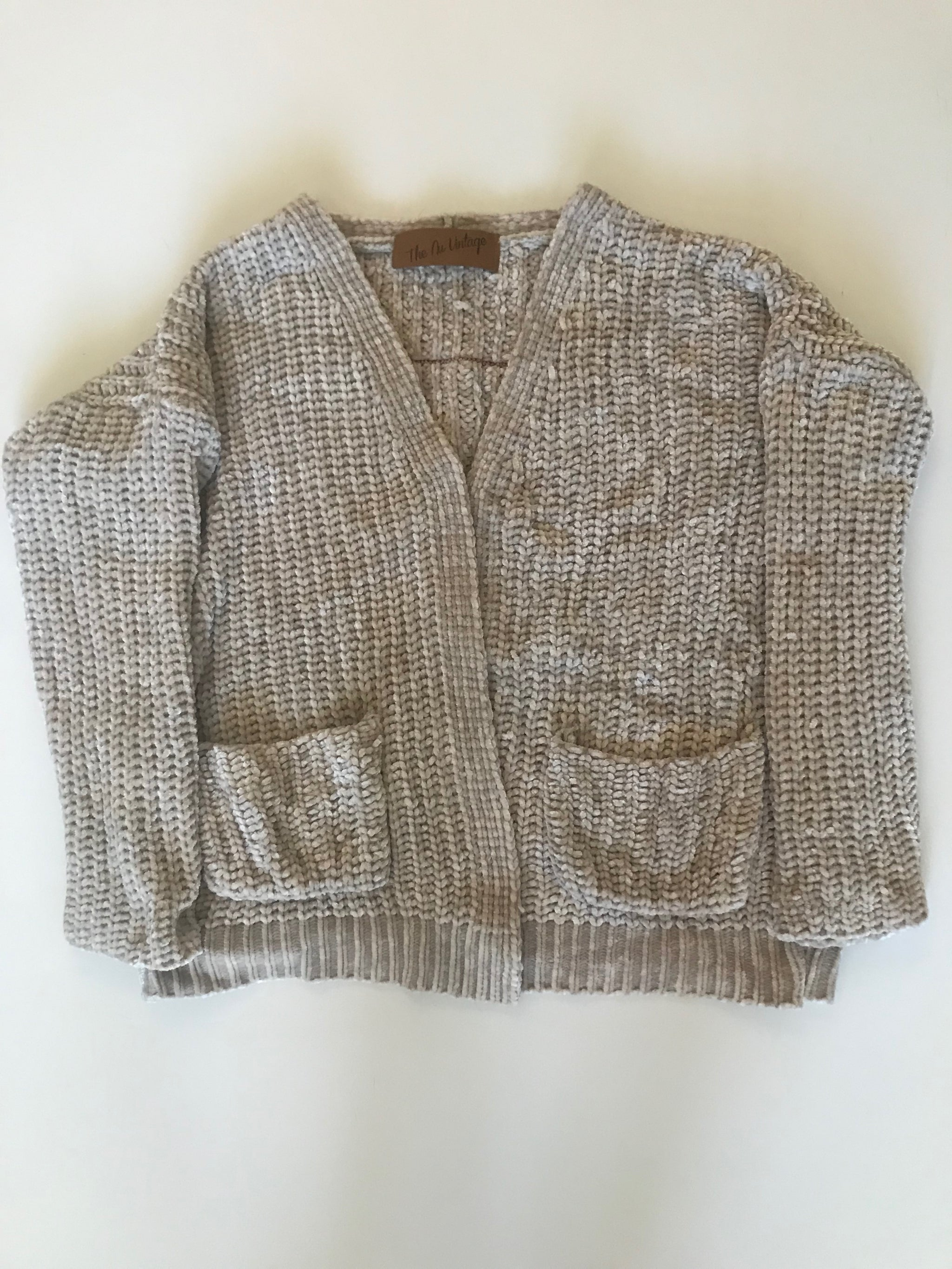 Chenille Cardigan Sweater with Patch