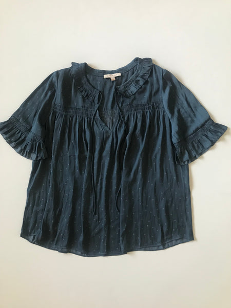 Blue Textured Short Sleeve Satin Ruffled Top