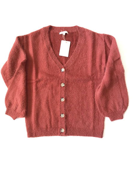 Brick Red Button Down Cardigan Sweater