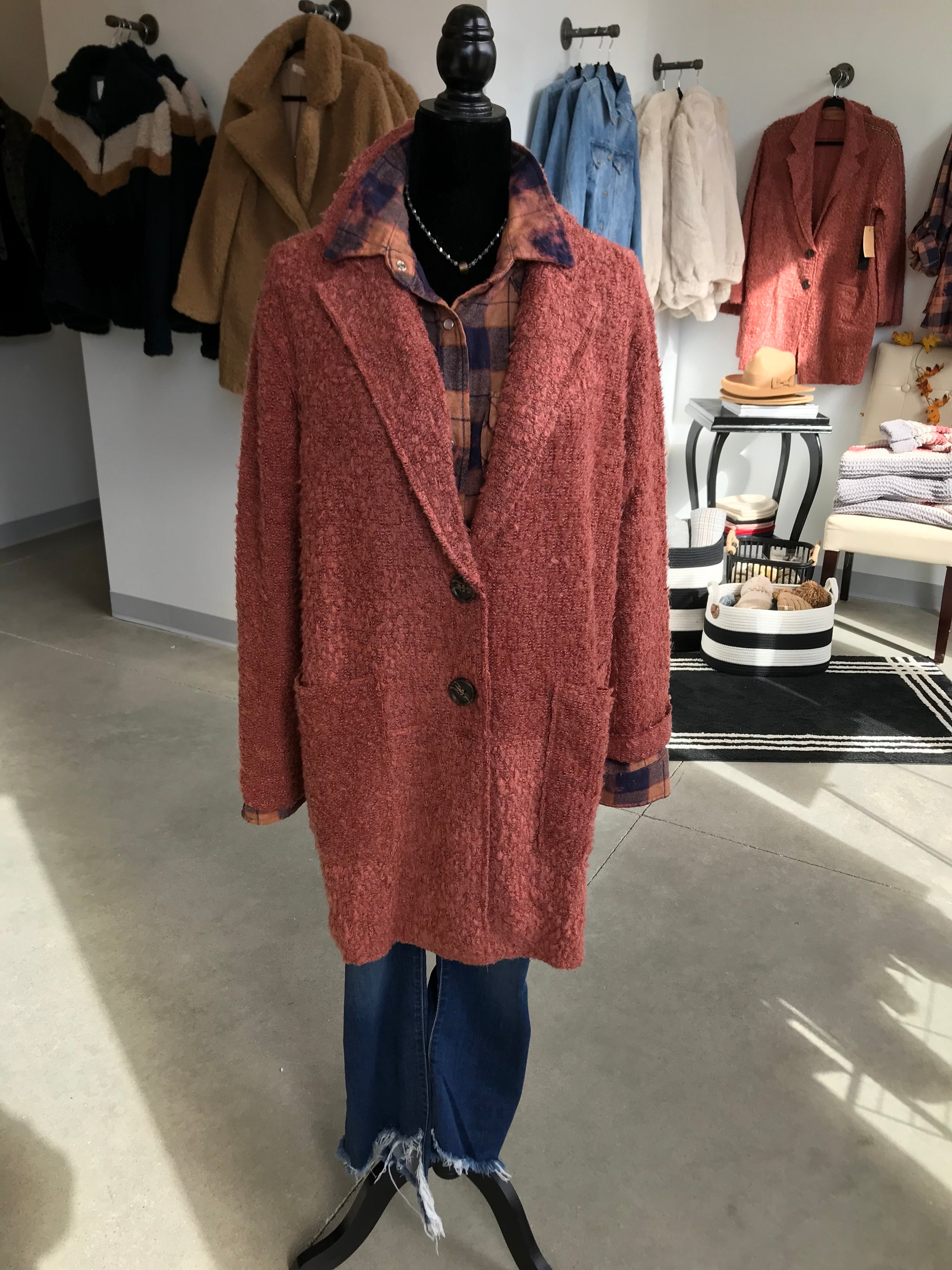 Rust Boucle Sweater Jacket with Patch