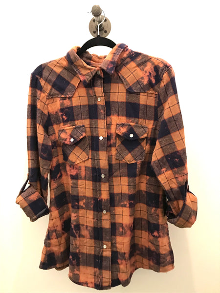Rust and Navy Plaid Flannel with Snap Closure