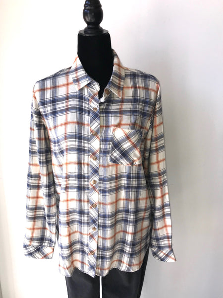 Blue and Rust Plaid Flannel Shirt