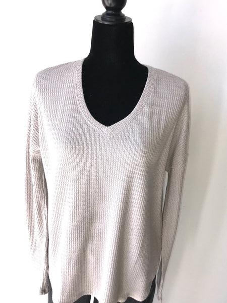 Grey Long Sleeve V-Neck Thick Waffle Knit Top