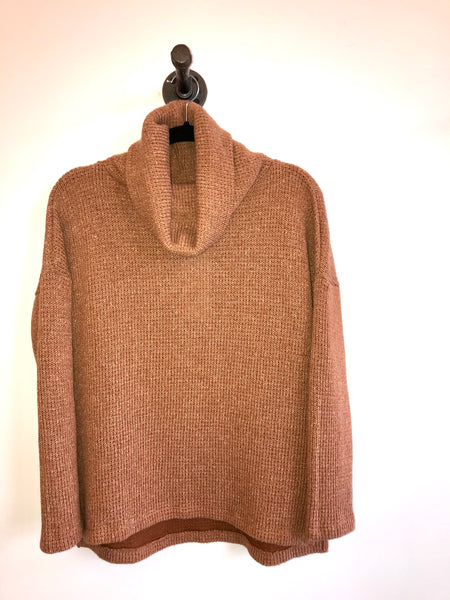 Rust Cowl Neck Thick Knit Top