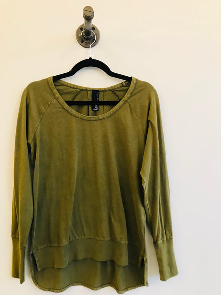 Olive Green Long Sleeve Raglan Top