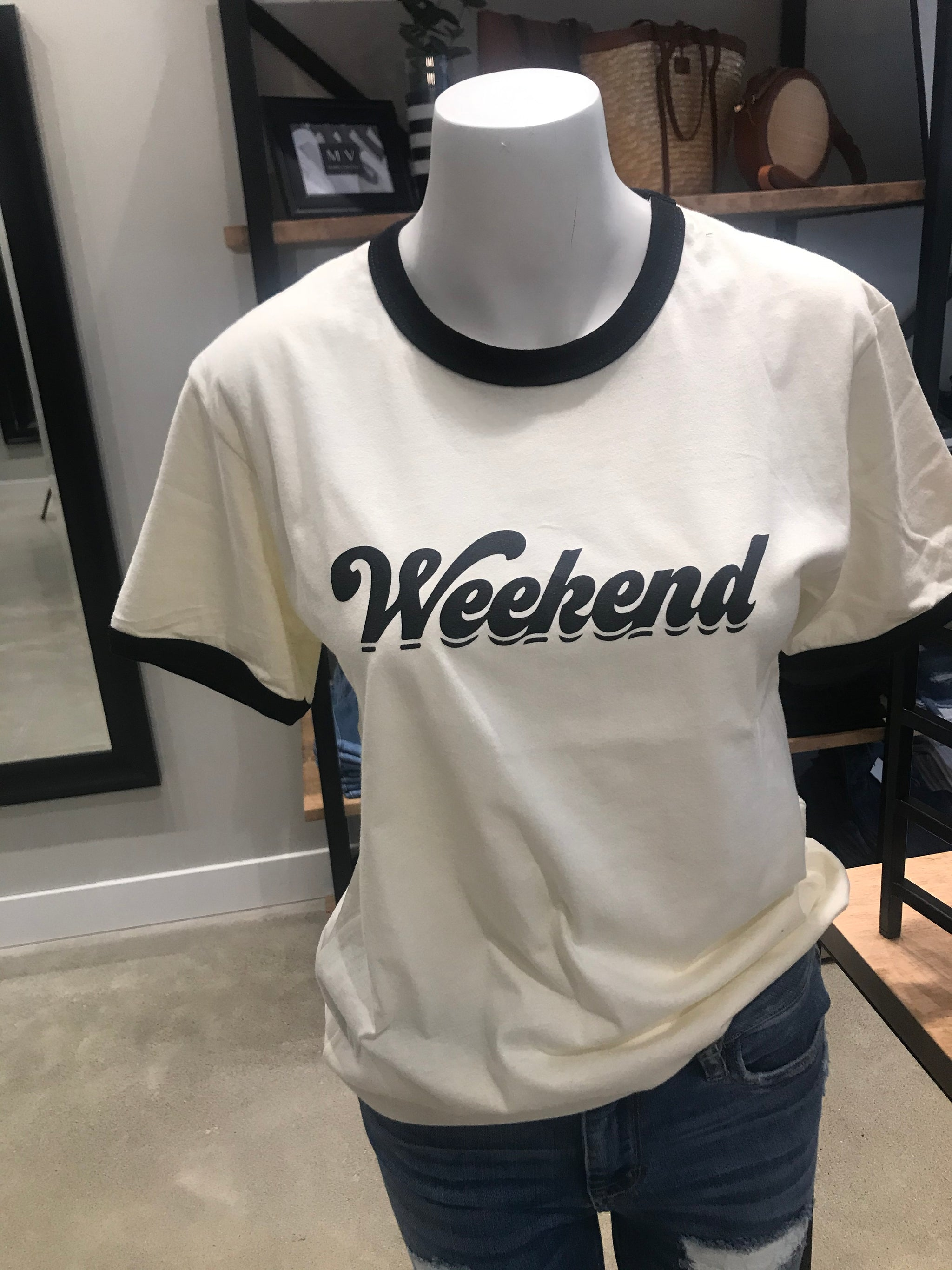 Weekend Graphic Tee in Ivory with Black Lettering