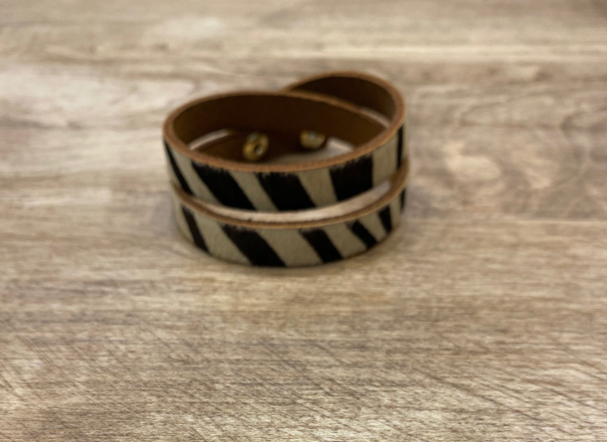 Animal Print Double Wrap Bracelet with Snap Closure