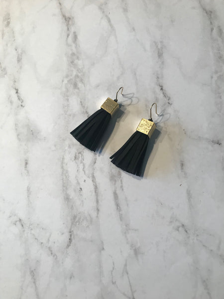 Leona Leather Tassel Earrings
